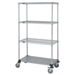 3 Wire & 1 Solid Shelf Stem Caster Cart
