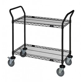 2-Shelf Black Wire Shelving Utility Cart