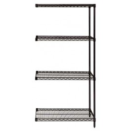 Black Wire Shelving 4-Tier Add-On Unit