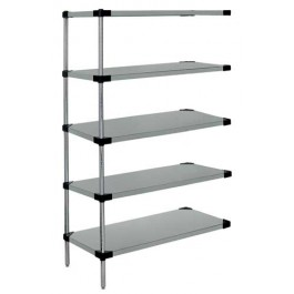 Stainless Steel 5-Solid Shelf Add-On Unit - WRSAD5-63-1448SS