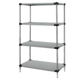 Stainless Steel 4-Solid Shelf Unit - WRS4-74-1824SS