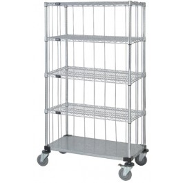 Enclosed 4 Wire & 1 Solid Shelf Carts