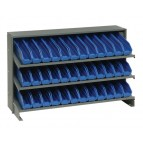 Sloped Bench Rack with Blue Bins