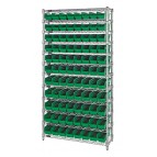 Wire Shelving with Green Plastic Storage Bins