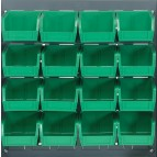 Louvered Panel with Green Plastic Bins
