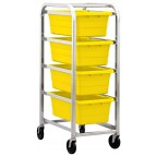 Tub Rack with 4 Yellow Tubs