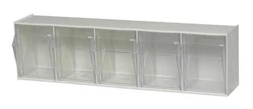 Clear Tip Out Bin 5 Tilt Compartment Medical Supply