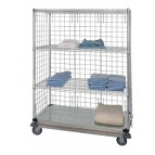 3 Wire &amp; 1 Solid Shelf Dolly Base Linen Cart