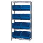 Plastic Storage Bin Wire Shelving System - Blue