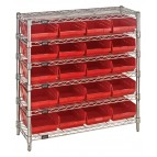 Plastic Storage Bin Wire Shelving Units Red