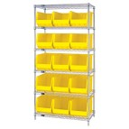 Wire Shelving with Plastic Storage Bins - Yellow