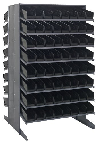 Double Sided Sloped Pick Rack Shelving With Plastic Bins
