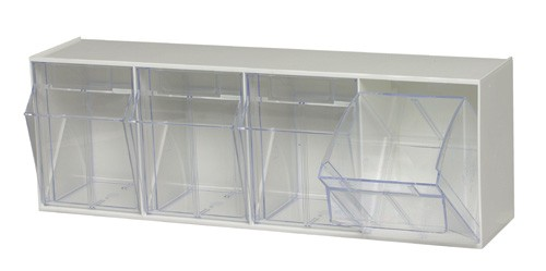 Clear Tip Out Tilt 4 Cup Compartment Bin Organizer