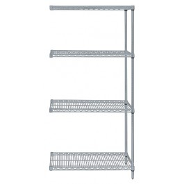 Gray Epoxy Wire Shelving 4-Shelf Add-On Kit