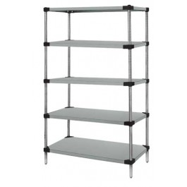 Stainless Steel 5-Solid Shelf Unit - WRS5-63-2448SS