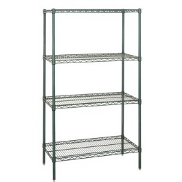 Green Epoxy Wire Shelving 4-Shelf Starter Kit