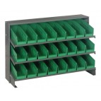 Sloped Bench Rack with Green Bins