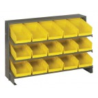 Sloped Bench Rack with Yellow Bins