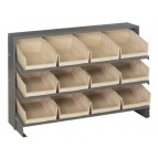 Sloped Bench Rack with Ivory Bins