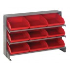 Sloped Bench Rack with Red Bins