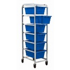 Tub Rack with 6 Blue Tubs