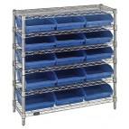 Plastic Storage Bin Wire Shelving Units Blue